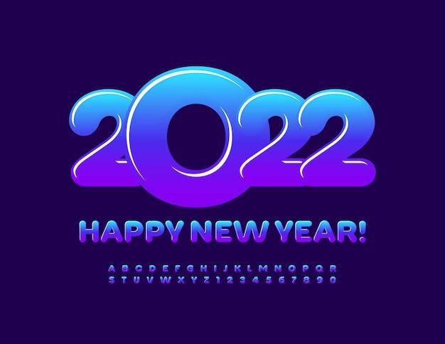 Wektor kartkę z życzeniami szczęśliwego nowego roku 2022 gradient kolor czcionki jasne litery alfabetu i cyfry