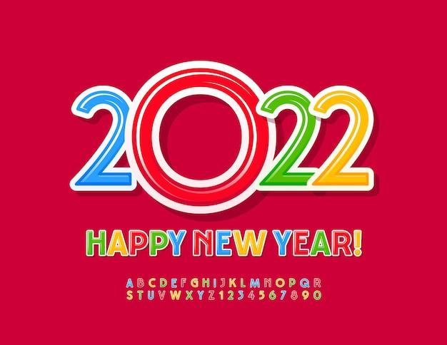 Wektor kartkę z życzeniami szczęśliwego nowego roku 2022 kolorowe dzieci czcionki jasne litery alfabetu i cyfry