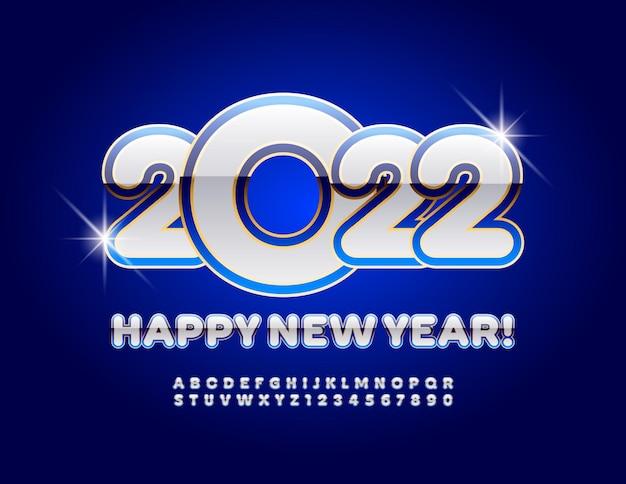 Wektor kartkę z życzeniami szczęśliwego nowego roku 2022 kreatywne błyszczące czcionki stylowe litery alfabetu i cyfry