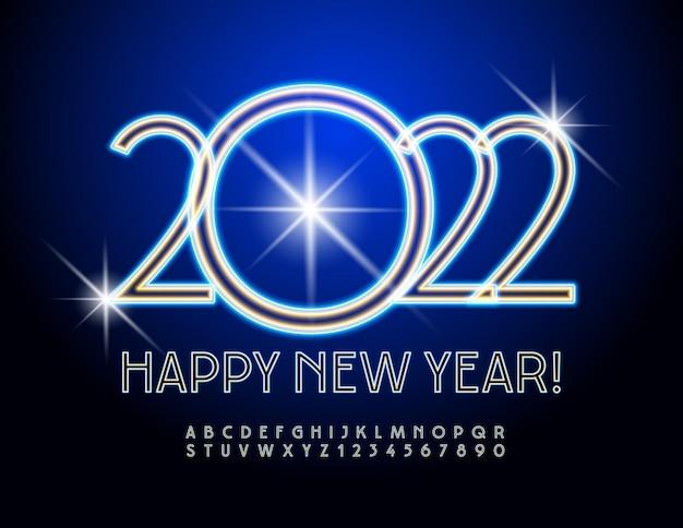 Wektor kartkę z życzeniami szczęśliwego nowego roku 2022 niebieski neon czcionki elektryczne litery alfabetu i cyfry
