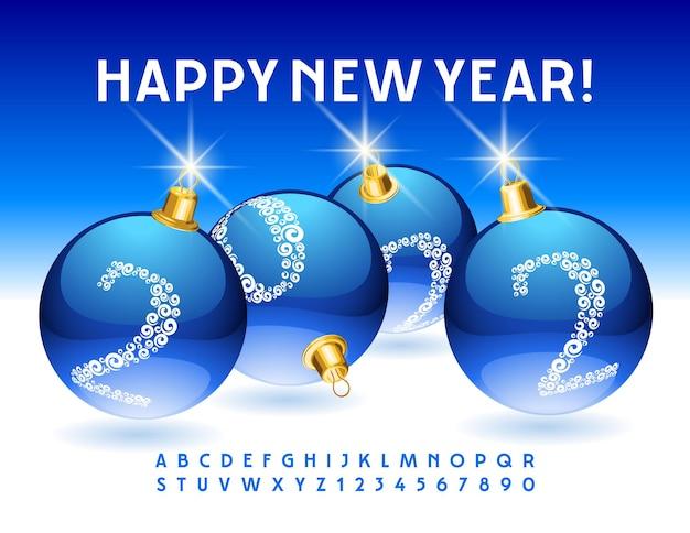 Wektor kartkę z życzeniami szczęśliwego nowego roku 2022 niebieskie bombki eleganckie litery alfabetu i cyfry