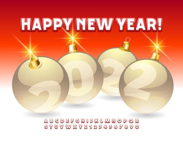 Wektor kartkę z życzeniami szczęśliwego nowego roku 2022 z bombkami jasne litery alfabetu i cyfry