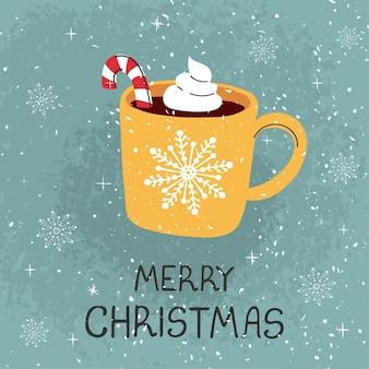 Wektor kartkę z życzeniami z kolorowymi ręcznie rysować ilustracją kubek z kakao i bożonarodzeniową laską
