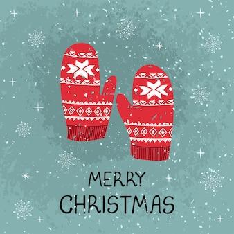 Wektor kartkę z życzeniami z kolorowymi ręcznie rysować ilustracją świątecznych rękawiczek wesołych świąt