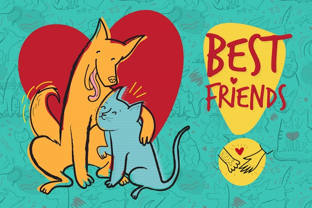 Wektor kartkę z życzeniami z psem i kotem w miłości, najlepsi przyjaciele