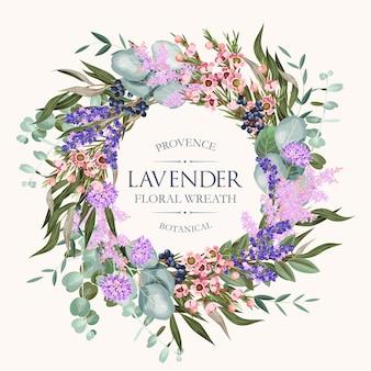 Wektor kartkę z życzeniami z wysokiej szczegółowej lawendy i innych kwiatów i foliag7e