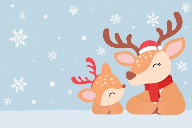 Wektor kartki świąteczne. śnieg z reniferem i mamą w czapkach mikołaja, zimowe nakrycia głowy.