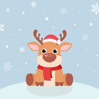 Wektor kartki świąteczne. śnieg z reniferem w czapkach mikołaja, zimowe nakrycie głowy.