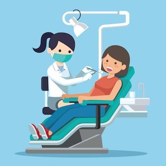 Wektor kobieta dentysta