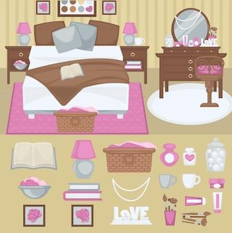 Wektor kobieta sypialnia wnętrze.