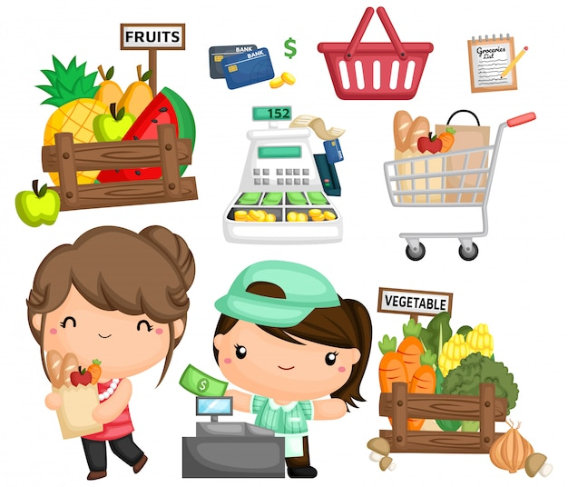 Wektor kobiety kupienia sklepy spożywczy