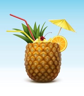 Wektor koktajl ananasowy przyozdobionym z maraschino cherry, plasterek pomarańczy, czerwone rurki słomy i żółty parasol na białym tle