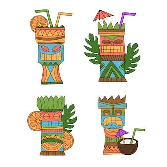 Wektor koktajle tiki - zestaw ilustracji na białym tle