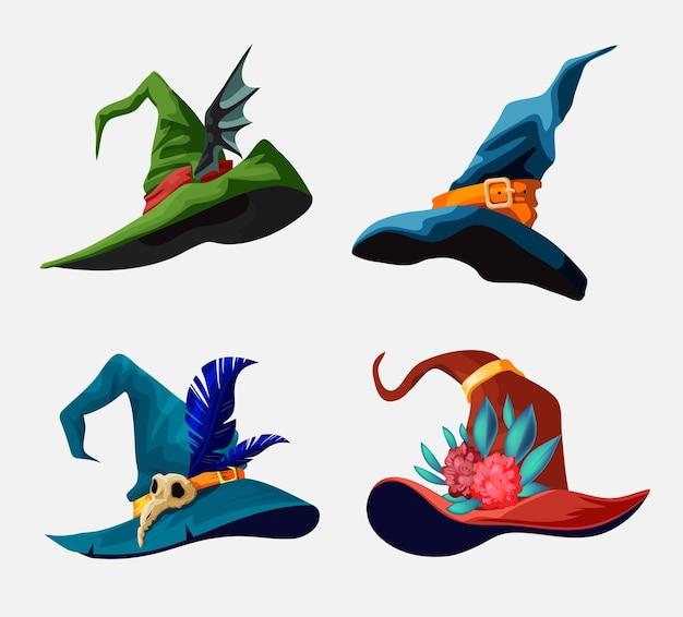 Wektor kolekcja kapeluszy czarownica kreskówka dla projektu halloween. ilustracja z różnymi rodzajami magicznych kapeluszy.