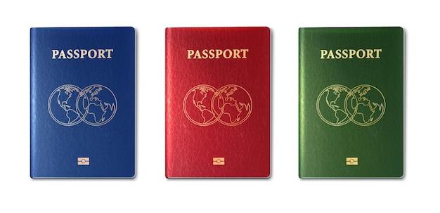 Wektor kolekcja paszportów zielony czerwony i niebieski