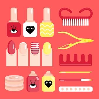 Wektor kolekcji narzędzi do manicure