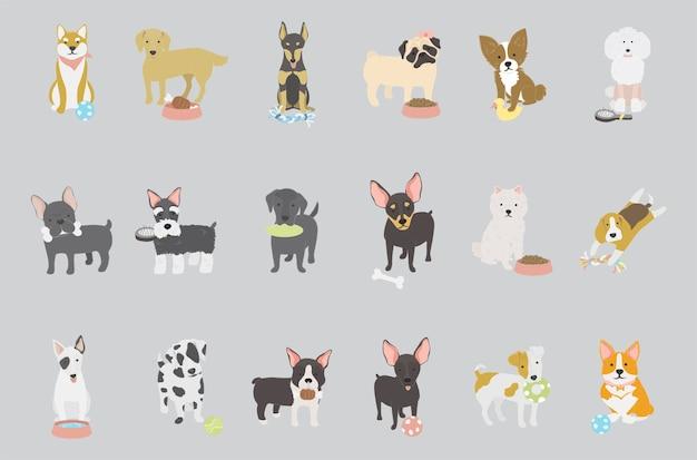 Wektor kolekcji rasy psów