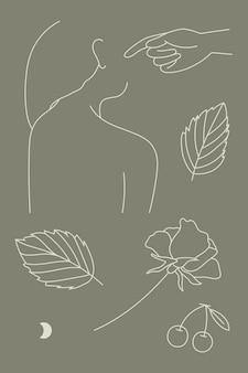 Wektor kolekcji sztuki kobiecej linii