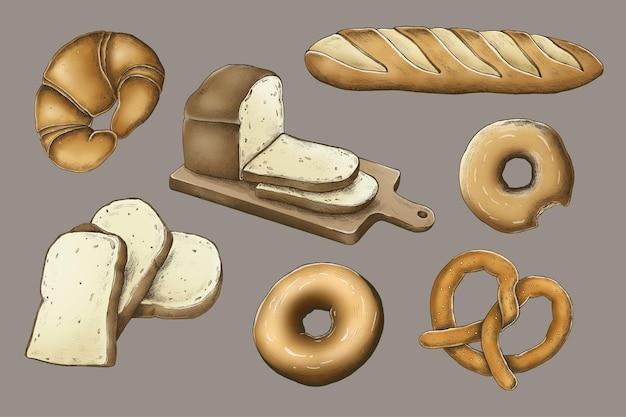 Wektor kolekcji vintage pieczony chleb