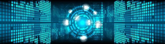 Wektor koło i linii elektrycznej z niebieskim tle cyklu elektronicznego