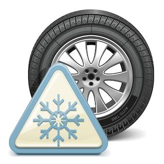 Wektor koło ze znakiem płatka śniegu