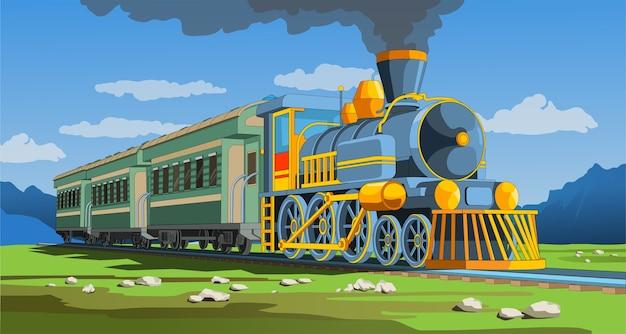Wektor kolorowa strona z modelem pociągu 3d i jasnym krajobrazem. piękna ilustracja wektorowa z podróży pociągiem. vintage wektor graficzny pociąg retro.