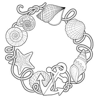 Wektor kolorowanka dla dorosłych, do medytacji i relaksu. backgroun sprzedaży, kotwice, muszle, kamienie i piasek. czarno-biały obraz na białym tle pojedynczych elementów