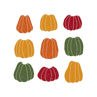 Wektor kolorowe dynie. plakat sezonu jesiennego.