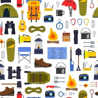 Wektor kolorowe elementy camping stylu płaski zestaw wzór lub ilustracji tła