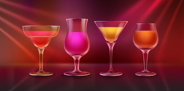 Wektor kolorowe różowe, pomarańczowe, żółte, czerwone koktajle alkoholowe na blacie barowym z jasnym podświetlanym tłem