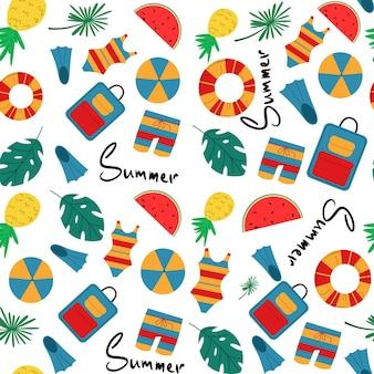 Wektor kolorowe zabawy lato wzór z tropikalnych liści, napis, walizka, akcesoria plażowe i letnie. powtarzające się tło plaży i wakacji dla tkanin, tekstyliów, brandingu