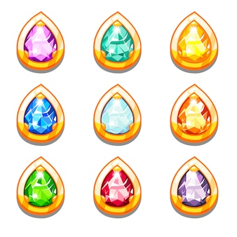 Wektor kolorowe złote amulety z diamentami