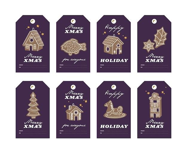 Wektor kolorowy design świąteczne pierniki na ciemnym tle. boże narodzenie tagi lub etykiety zestaw z typografią i kolorową ikoną.