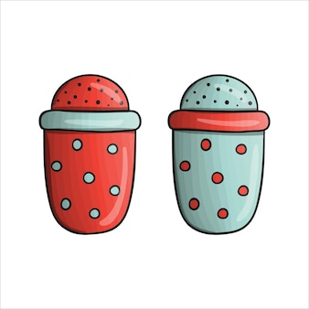 Wektor kolorowy kubek miarowy. ikona narzędzia kuchnia na białym tle. sprzęt do gotowania w stylu kreskówki. ilustracja wektorowa naczynia