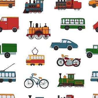 Wektor kolorowy wzór retro silników i transportu