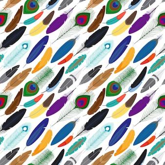 Wektor kolorowych piór bezszwowe tło