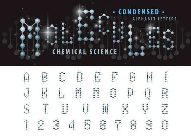 Wektor komórki cząsteczki streszczenie litery alfabetu i liczb, zagęszczone czcionki