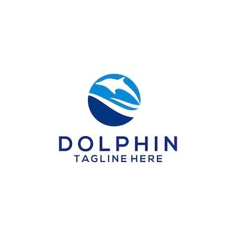 Wektor koncepcja logo zwierząt delfinów na białym tle na białym tle