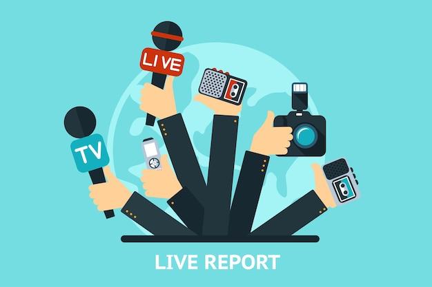 Wektor koncepcja relacji na żywo, wiadomości na żywo, ręce dziennikarzy z mikrofonami i magnetofonami