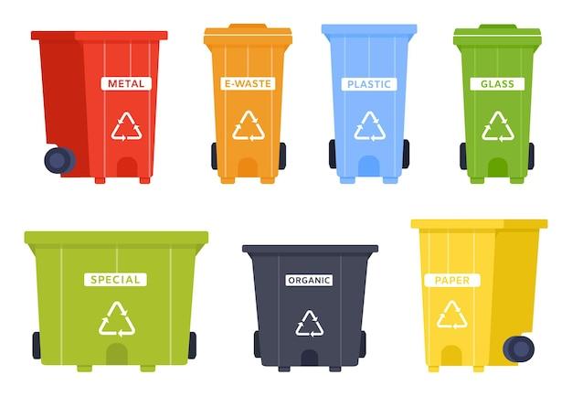 Wektor kontenera kosza z ikoną kosza. kosz na śmieci metalowe, elektroniczne, plastikowe i szklane, śmieci specjalne i organiczne, papierowe. kontenery do sortowania śmieci i ochrony środowiska