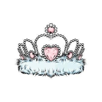 Wektor korony. malowany diadem. ilustracja wektorowa dla karty z pozdrowieniami, plakatu lub drukowania na ubraniach.
