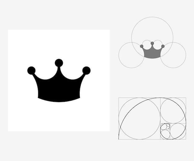 Wektor korony w stylu złotego podziału. edytowalna ilustracja