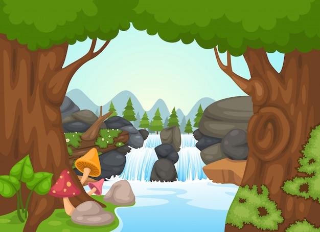 Wektor krajobraz wodospad