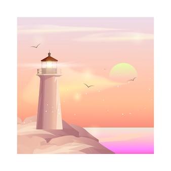 Wektor krajobraz z latarnią morską.