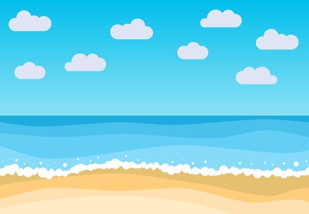 Wektor krajobraz z letnią plażą. fale piaszczystej plaży, błękitne niebo i morze. ilustracja wektorowa krajobraz.