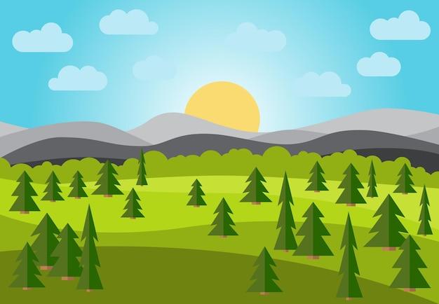 Wektor krajobraz z polami, drzewami i górami. wczesny poranek ze wschodem słońca na horyzoncie. ilustracja wektorowa.