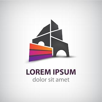Wektor kreatywne budownictwo, wstążka logo domu dla twojej firmy na białym tle