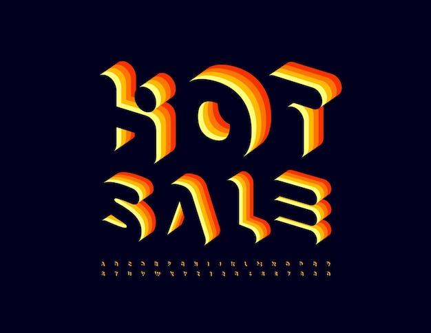 Wektor kreatywny promo gorąca sprzedaż jasny warstwowy zestaw czcionek izometrycznych liter alfabetu i cyfr