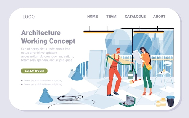 Wektor kreskówek płaski robotnik przemysłowy, projektowanie strony docelowej renowacji biura. naprawa pracowników konstruktora, udekorowanie nowego biurowca-naprawy wnętrz, remont, projektowanie, koncepcja banera witryny sieci web