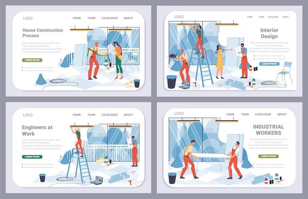 Wektor kreskówek płaski robotnik przemysłowy, zestaw strony docelowej renowacji biura. naprawa pracowników konstruktora, udekoruj nowy biurowiec-naprawy wnętrz, remont, projektowanie, koncepcja banera witryny sieci web